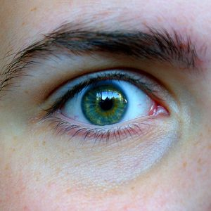 Closeup shot of a person's green eye