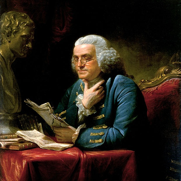 Painting of an older gentleman reading papers with glasses